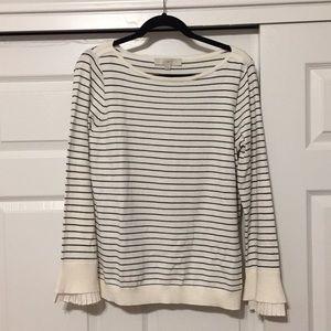 NWT Loft Large Cream Sweater w Black Stripe.